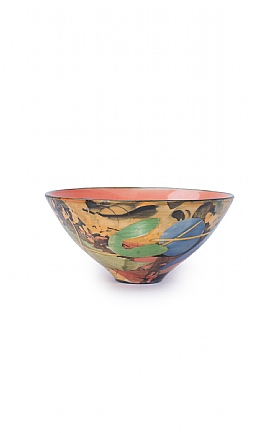 Leaves and Stalks Small Red Bowl by Sophie MacCarthy