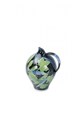 Green and Blue Leaves Large Oil Jar by Sophie MacCarthy