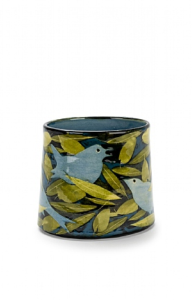Blue Birds and Olives Oval Vase by Sophie MacCarthy