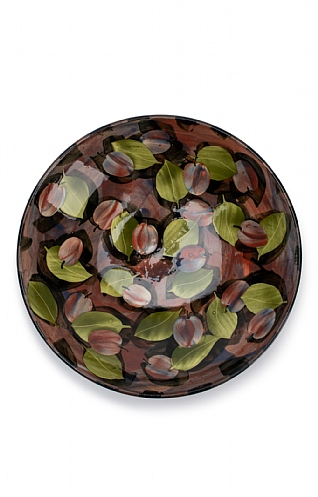 Purple Plums and Leaves, Shallow Bowl by Sophie MacCarthy