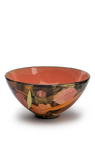 Leaves, Medium Deep Bowl Red Inside by Sophie MacCarthy