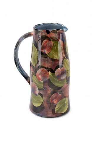 Purple Plums and Leaves, Tall Curve Jug by Sophie MacCarthy