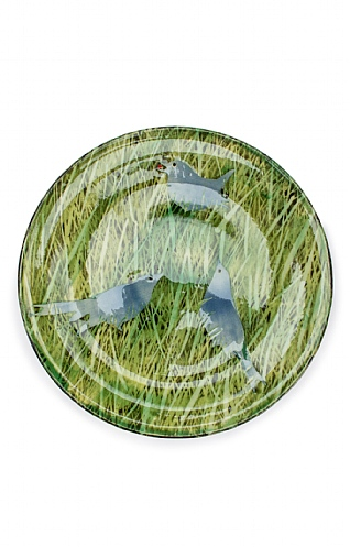 Blue Birds in Grass Plate by Sophie MacCarthy