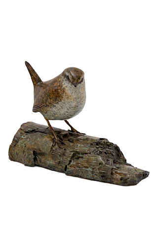 Wren on Log by Eddie Hallam