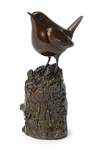 Wren on Upright Branch by Eddie Hallam