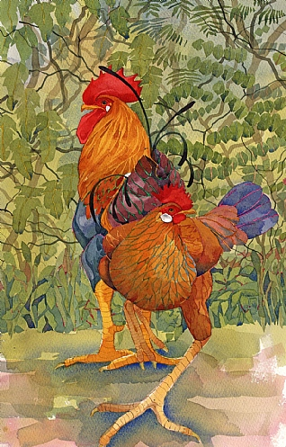 Leghorn Pair by Mary Ann Rogers