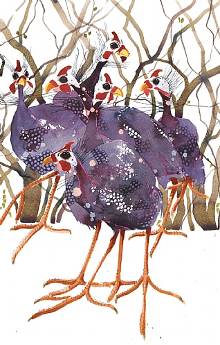 Guinea Fowl in the Trees by Mary Ann Rogers