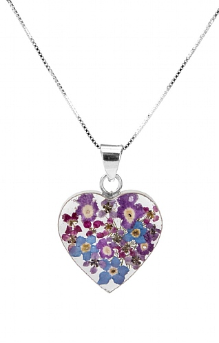 Real Flower Medium Heart Pendant