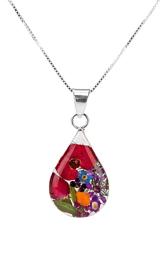 Real Flower Teardrop Pendant