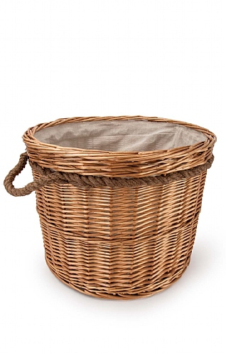 Round Lined Log Basket