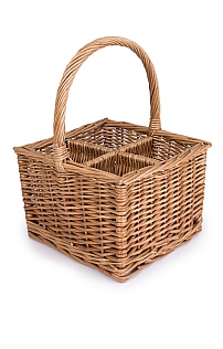 Four Bottle Willow Basket Wine Carrier