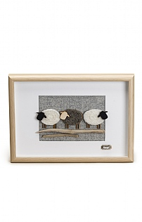 Driftwood Framed Triple Sheep Picture
