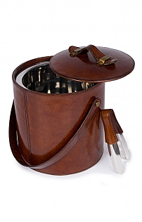 Leather Ice Bucket & Tongs