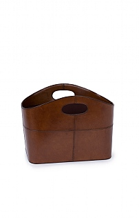Leather Curved Magazine Basket