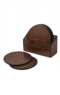 Set of 6 Round Leather Coasters