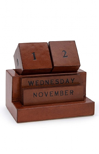 Leather Block Perpetual Calendar