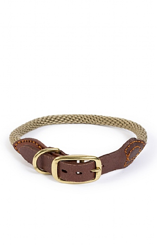 Leather Trim Rope Dog Collar