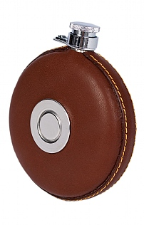 Round Leather Hip Flask