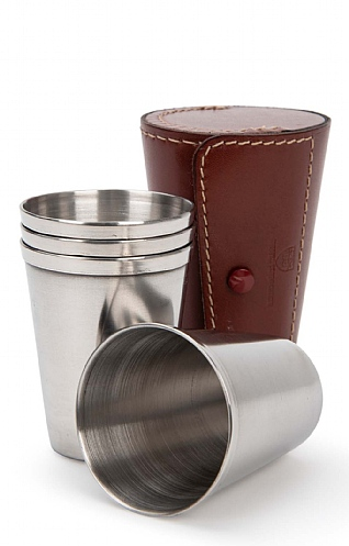 Set of Four Stainless Steel Cups and Case