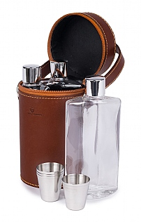 Leather Triple Flask Set
