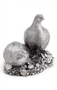 Pair of Silverware Partridges Centrepiece