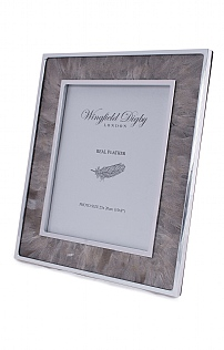 Silver Plated Real Feather 8x10in Photoframe