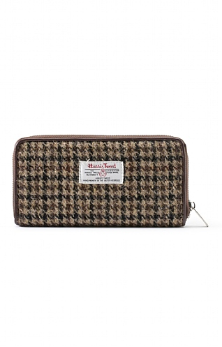 Harris Tweed Dogstooth Long Zip Purse