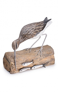 Hand Carved Curlew Fishing