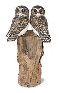 Hand Carved Double Owl on Log