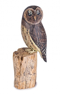 Hand Carved Tawny Owl on Log