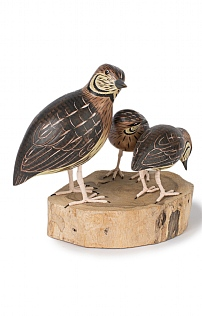 Hand Carved Quail and Chicks