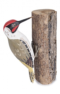 Hand Carved Green Woodpecker on Log