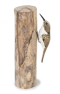 Hand Carved Treecreeper on Log