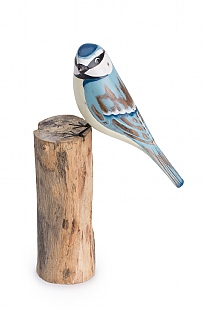 Hand Carved Blue Tit on Log