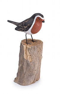 Hand Carved Robin On Log