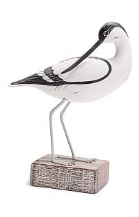 Hand Carved Avocet Preening