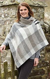 Wool Shawl Collar Poncho