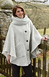 Wool Button Cape with Scarf