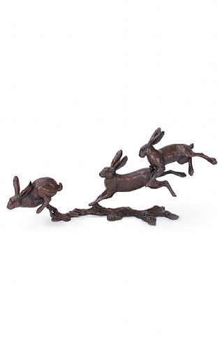 3 Small Hares Running by Micheal Simpson