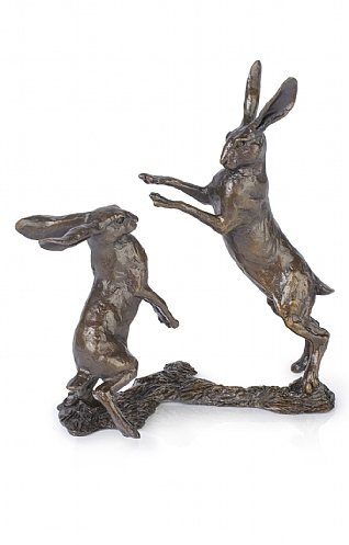 Boxing Hares, Small by Richard Cooper
