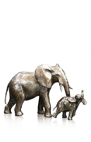 Medium Elephant Cow and Calf by Richard Cooper