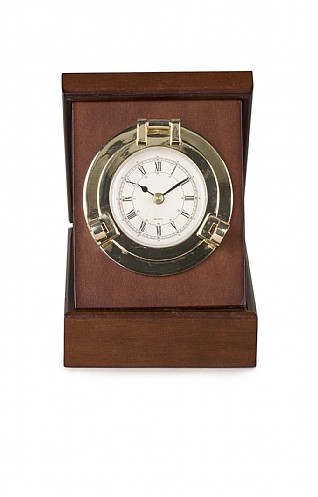 Wood and Brass Boxed Porthole Clock