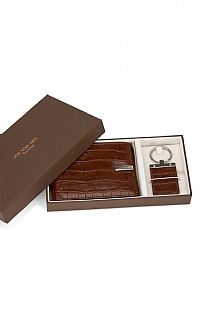 Leather Wallet & Keyring Set