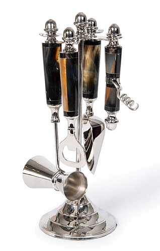Horn Handle Four Piece Bar Set and Stand