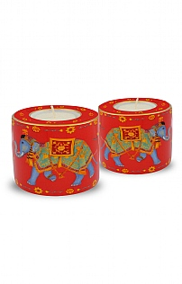 Halcyon Days Elephant Tealight Set