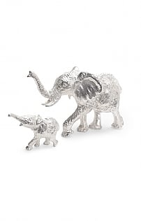 Silver Plated Elephant Cow and Calf