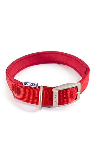 20 Inch Padded Red Nylon Collar