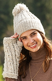Ladies Aran Bobble Beanie