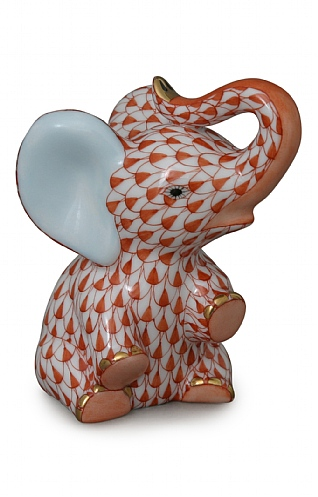 Herend Red Sitting Elephant