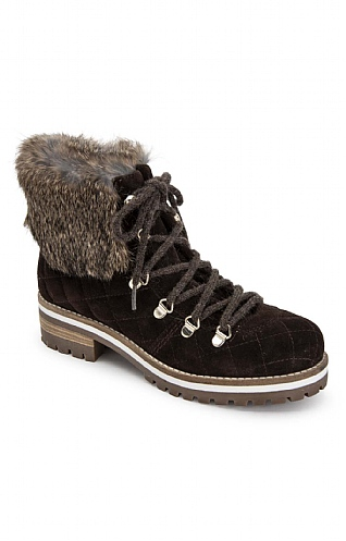 Fur Top Quilt Suede Boot